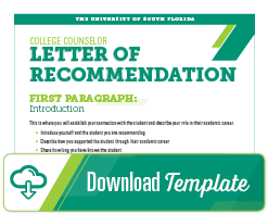 college counselor letter of recommendation template