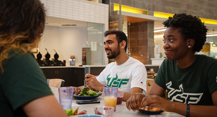USF students eating and discussing what was on their college priority list when choosing between college options.