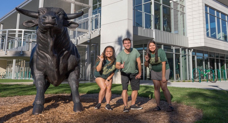 College students at USF displaying their school pride.
