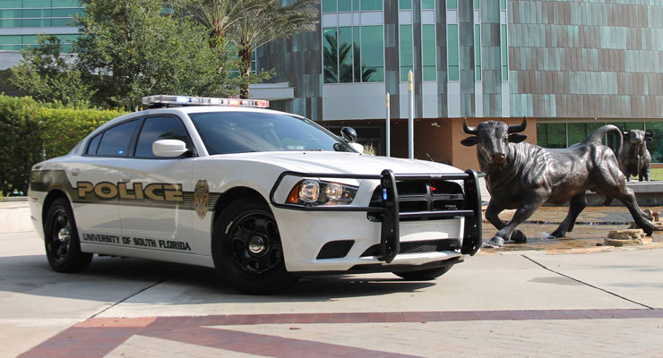 USF Police Department car outside of the Marshall Student Center.
