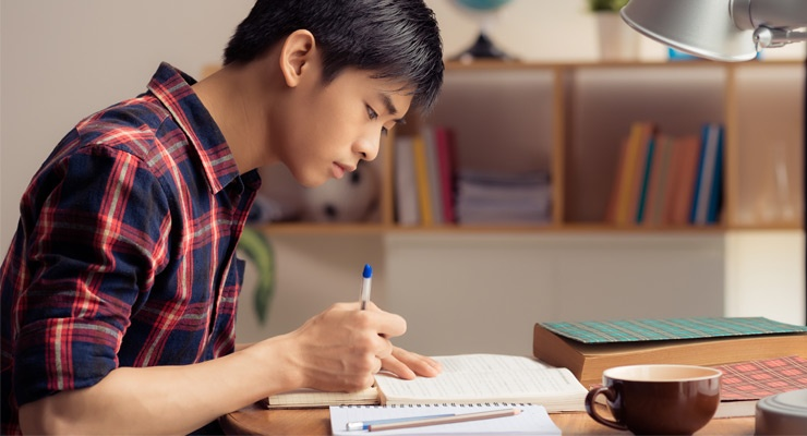 High school student studying and staying focused.