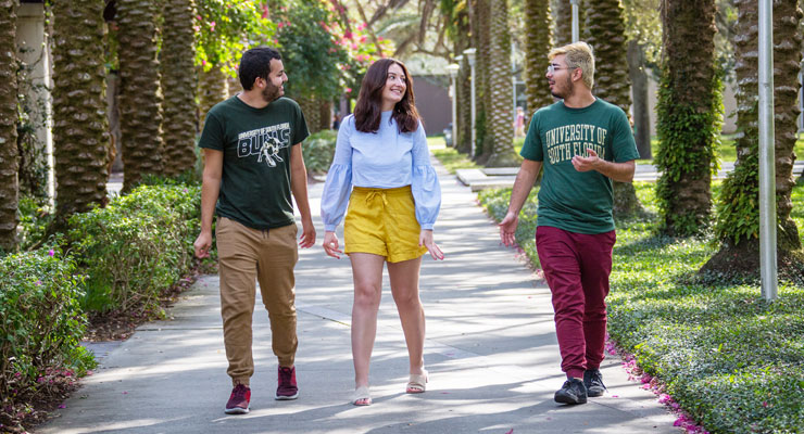 USF students go for a walk outside under some palm trees on campus.