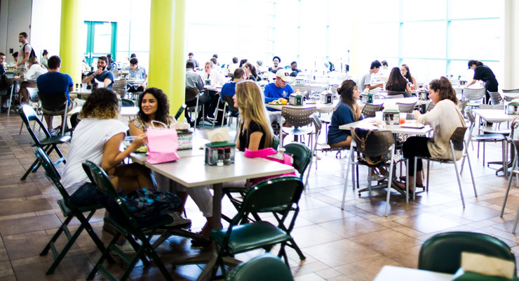 USF students eating healthy meals together.
