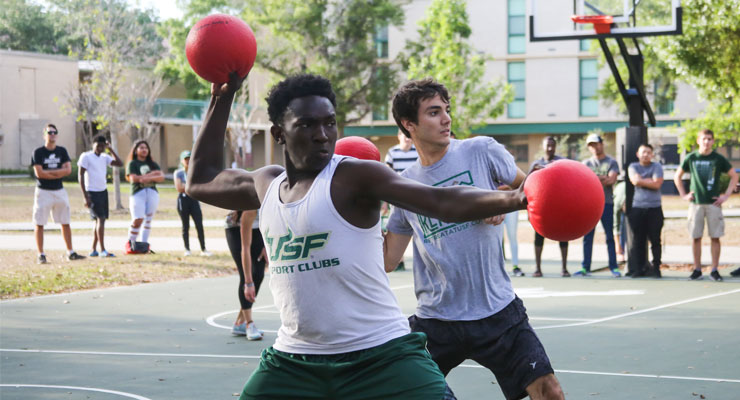 USF students playing dodgeball.