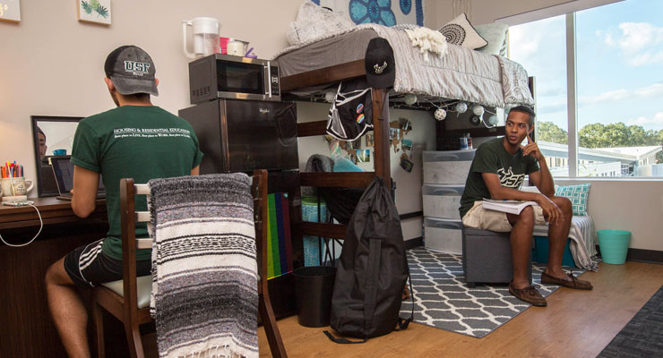 Two USF roommates hang out in their shared residence hall room.