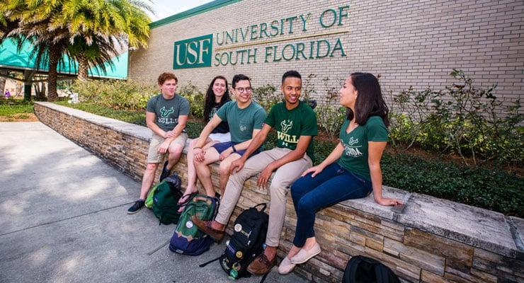 New college freshmen on a college campus