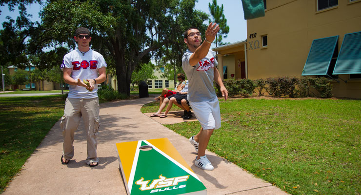 USF fraternity brothers playing corn hole outside of their frat house