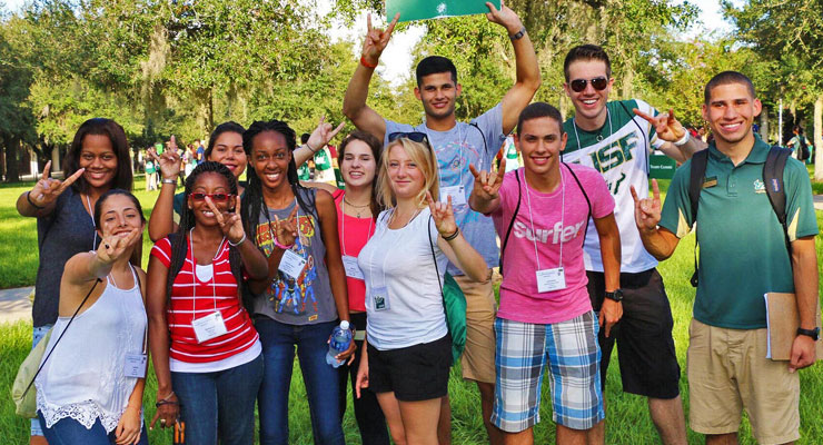Students on a campus tour at USF