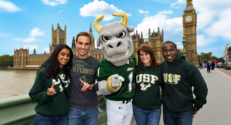 USF students on the Westminster Bridge while studying abroad in England