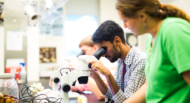Science students use microscopes and their professor provides instruction