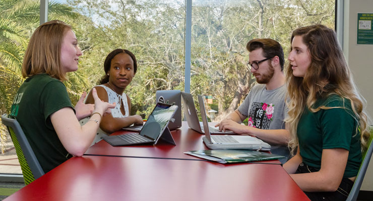 Four USF students work on a class assignment together