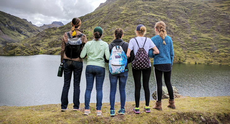 Five students in the USF Provost's Scholars Program view the scenery during their study abroad trip