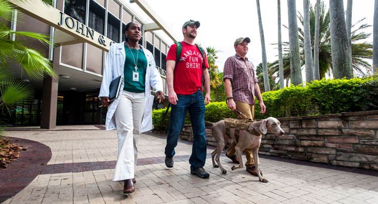 Three military veterans walk together on the USF campus