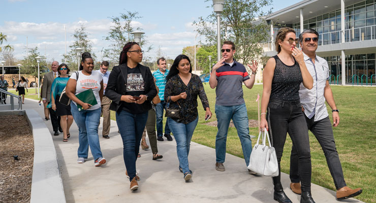 USF students and parents take a campus tour.