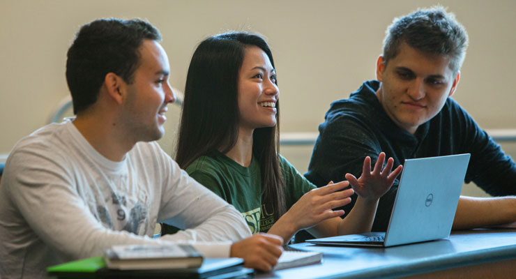 USF students in a small class discuss the lesson with each other.