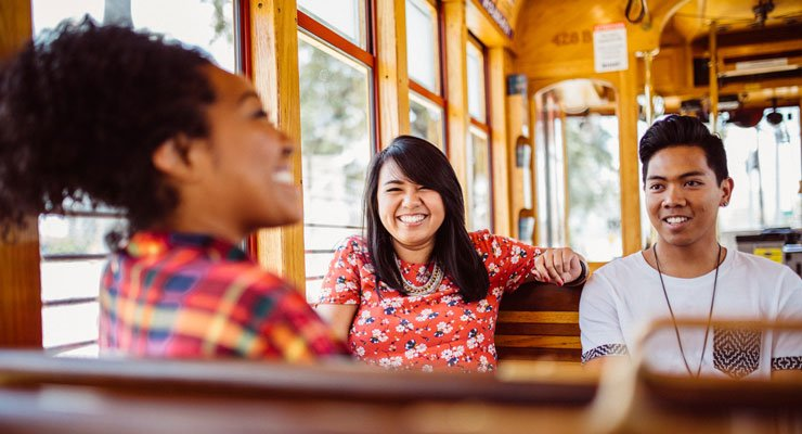 USF students take a ride on a trolley in downtown Tampa.