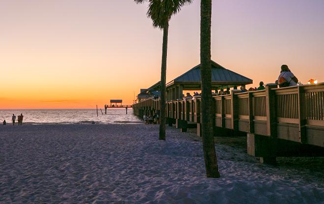 Sunset at the beach on the gulf coast near Tampa.