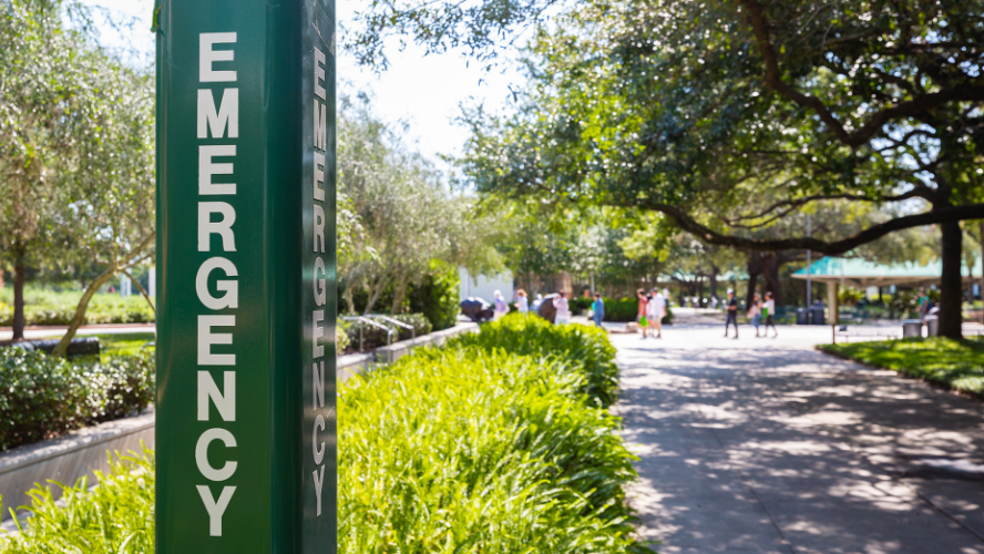 Emergency station available at USF for campus safety.