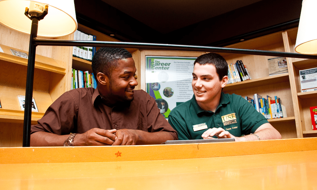 USF student visiting the Career Services office to get help building his resume and getting a job.