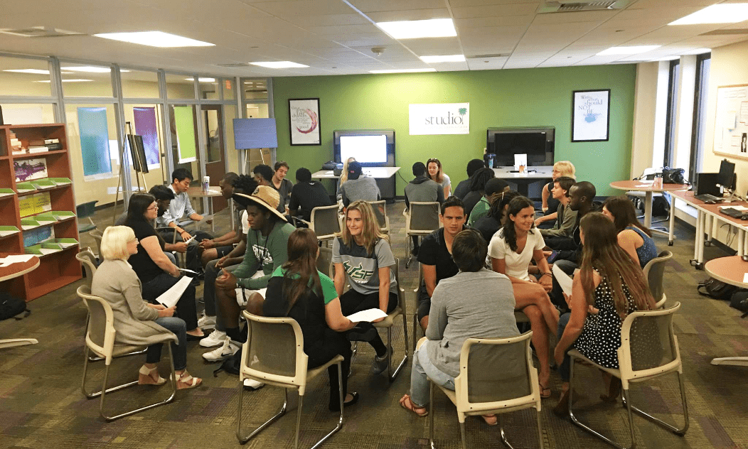 USF students getting academic support at one of the academic exercise services provided by USF.