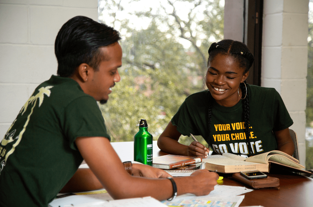 Two USF students studying their scholarship options at the library.