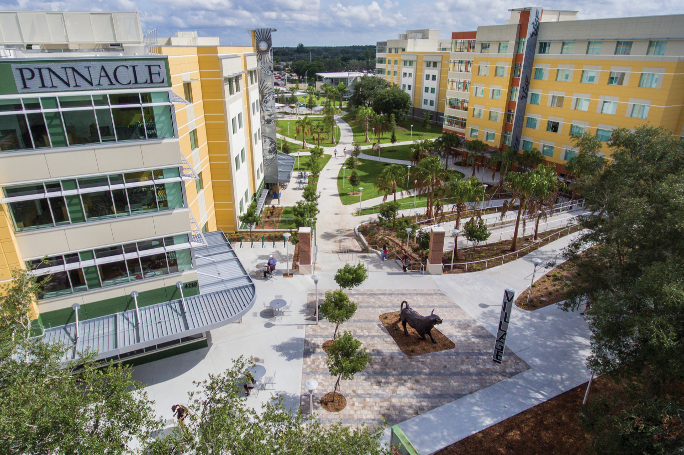 Aerial view of USF campus showing the housing and dining halls available on campus.