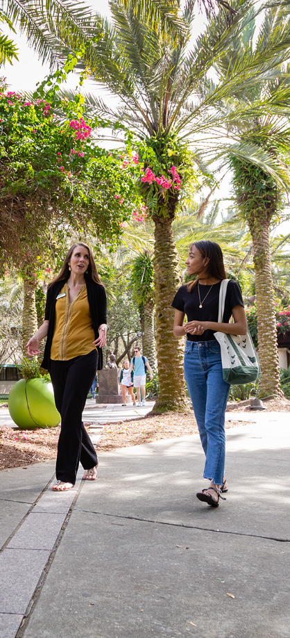 USF employee and student talking and walking around the USF's Tampa campus.