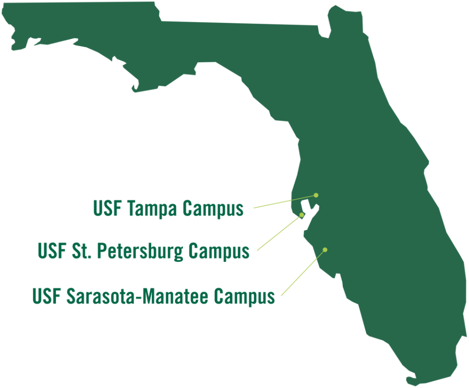 Map of USF campuses in Florida