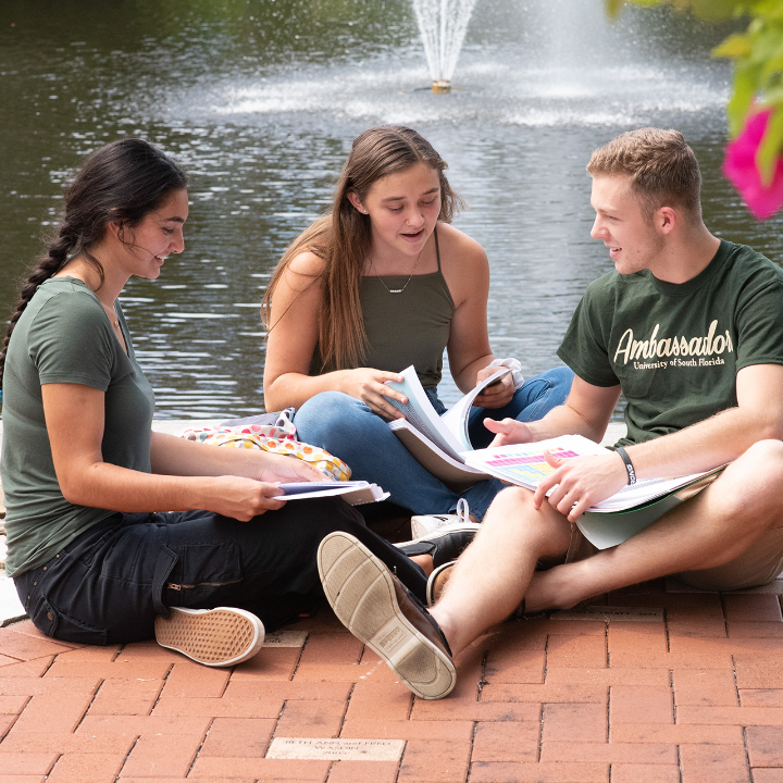 students-sitting-together-by-usf-sarasota-fountain
