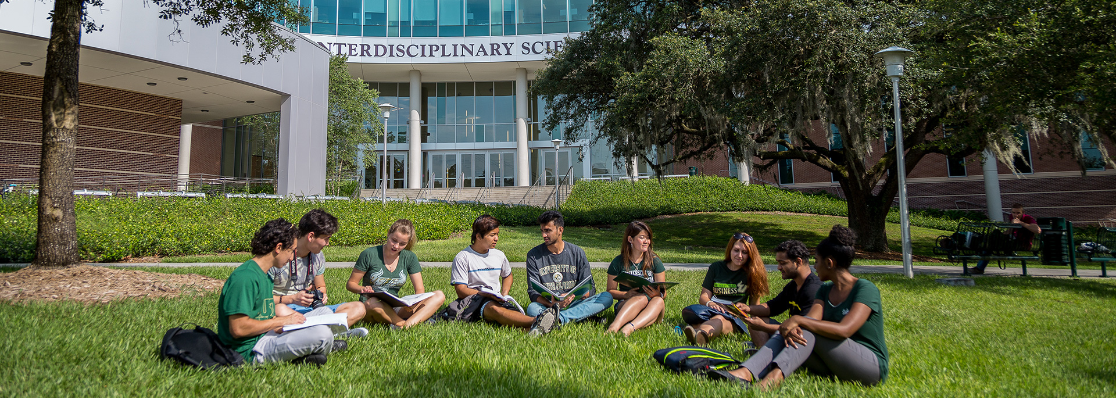 Students sitting outside on campus at USF's Tampa Campus studying from textbooks.