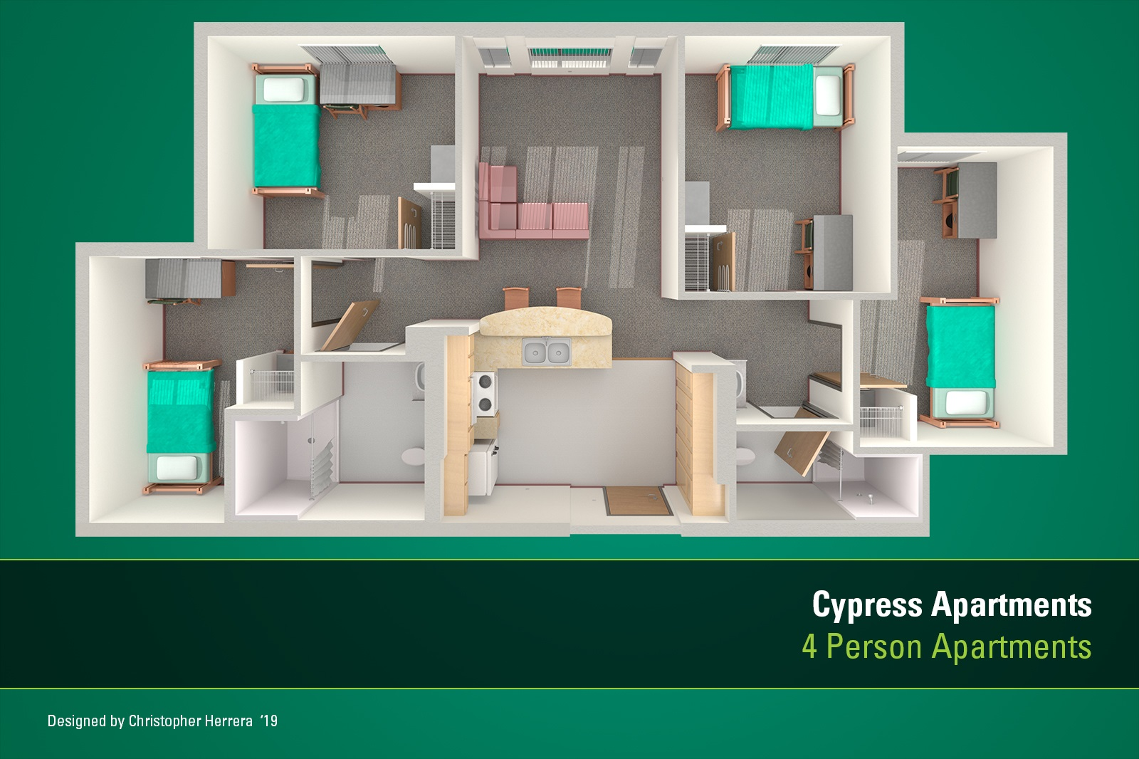 USF Tampa housing apartment floor plan for Cypress Apartments.