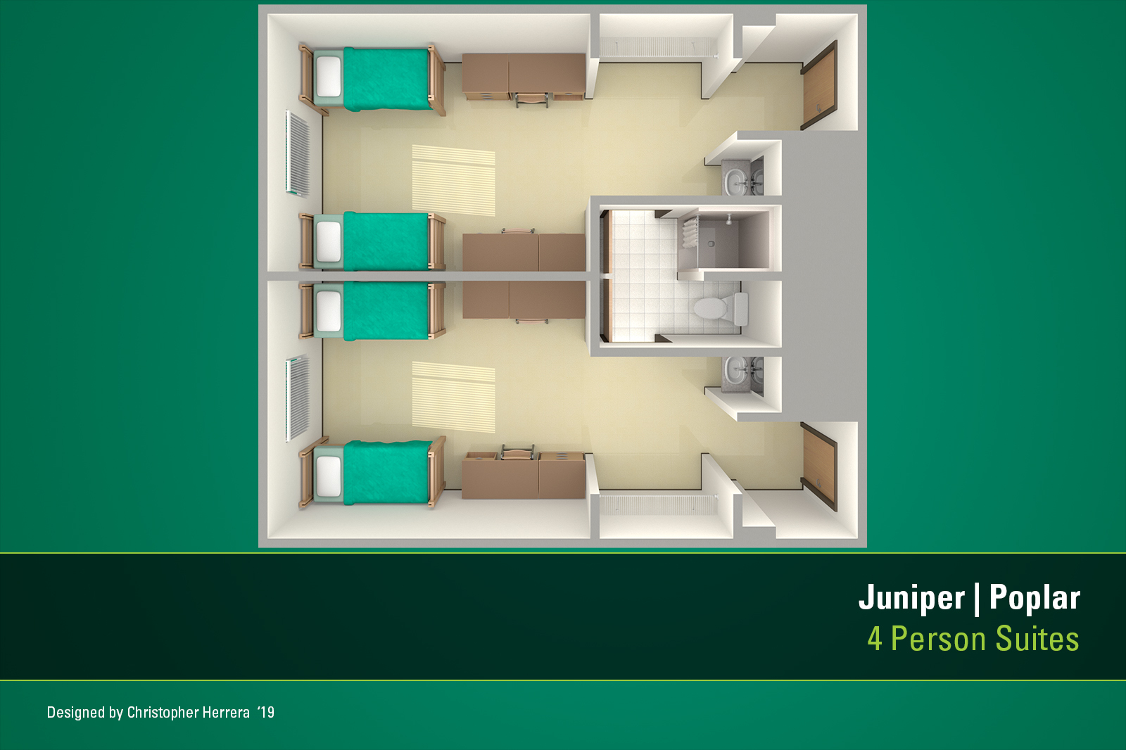 USF Tampa housing apartment floor plan for Juniper-Poplar Hall.