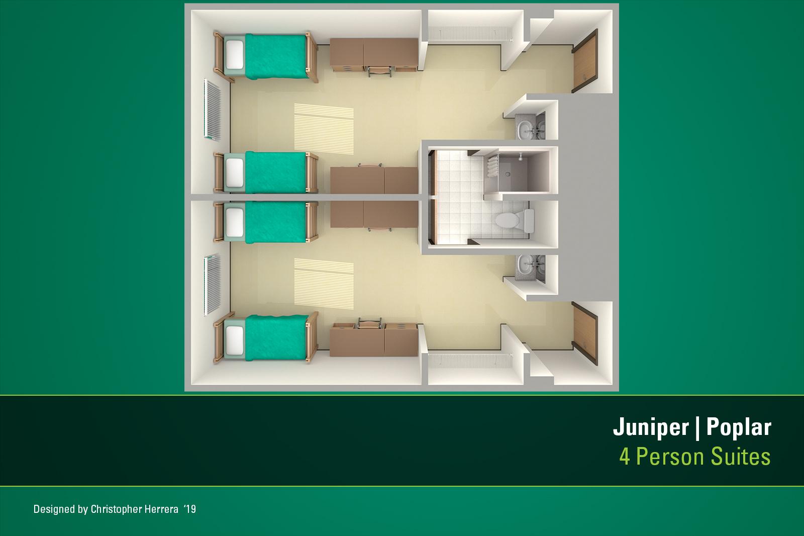USF's Tampa Campus housing apartment floor plan for Juniper-Poplar Hall.